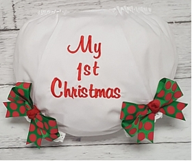 My 1st Christmas Red & Green Polka Dot Diaper Cover Bloomers