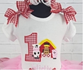 Girls Farm Theme Personalized Birthday Shirt or Onesie