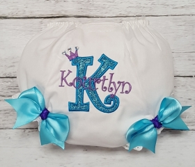 Purple Sparkle & Turquoise Personalized Name & Initial Crown Diaper Cover Bloomers