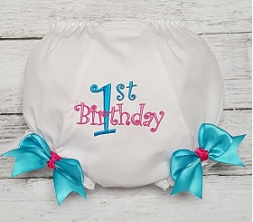 1st Birthday Turquoise & Hot Pink Diaper Cover Bloomers