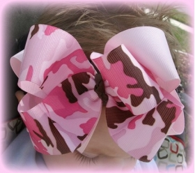 Pink & Brown Double Layer Camouflage Bow & Headband