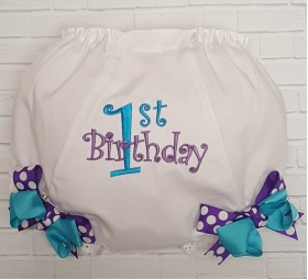 Purple & Teal Personalized First Second or Third Diaper Cover Bloomers