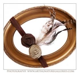 Brown & Khaki Dupoini Silk Indian Princess Headband