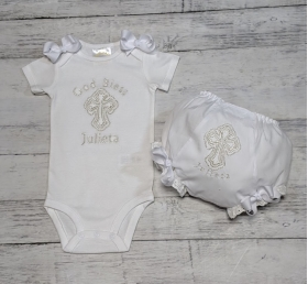 Silver Christening Baptism Cross 2 Piece Bib & Onesie  Personalized Gift Set
