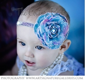Blue Mermaid Glitter Flower Silver Headband