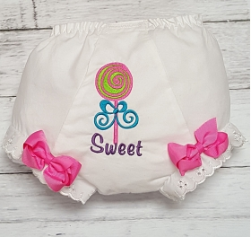 Sweet Treats Lollipop Embroidered Diaper Cover