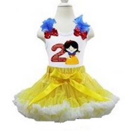 2nd Birthday Snow White Petti Skirt & Tank Top 2 Piece Set