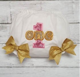 Pink & Gold Glitter Age 1 Birthday Diaper Cover Bloomers