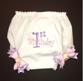 Pink & Lavender First Birthday Diaper Covera