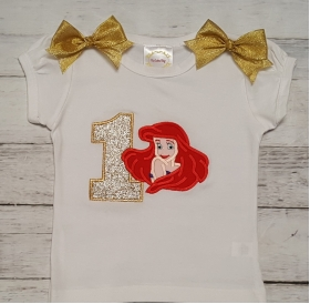 "Ariel ""Little Mermaid"" Gold & Green Personalized Birthday Shirt-Onesie or Tank Top"