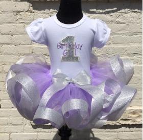 Lavender Glitter Ribbon Tutu & Shirt 3 pc Personalized Birthday Set