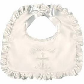 Blessed Ruffle Satin Christening Bib Bearington