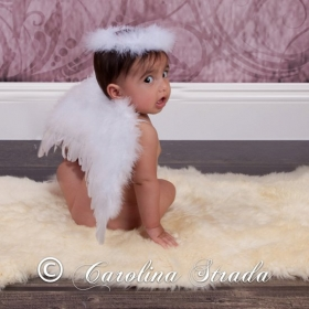 White Feather Angel Wings & Halo Newborn or Toddler Size