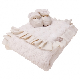 Cream Swirl Personalized Ruffle Blanket
