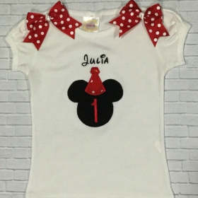 MINNIE MOUSE Birthday Red &  White Polka Dot Personalized Shirt & Ribbon Polka Dot  Ribbon Tutu 3 Piece Set