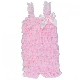 Light Pink Lace Ruffle Petti Romper