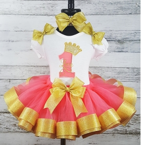1st Birthday Crown Coral and Gold Personalized Ribbon Coral & Gold Tutu 3 Piece Set