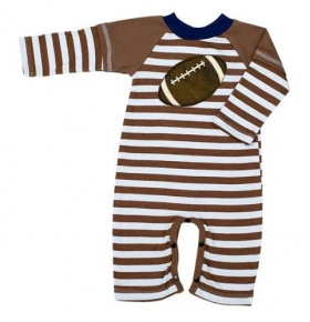 Field Goal Baby Boys Brown & Blue Stripe Coverall Romper