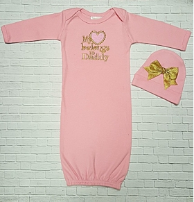 """My Heart Belongs to Daddy"" Pink Layette Gown & Hat Set"