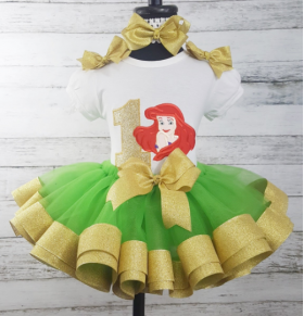 "Ariel ""Little Mermaid"" Gold & Green Personalized Birthday 3 Piece Ribbon Tutu Set"