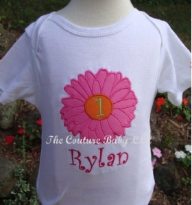 Applique Flower and Initial design with Name