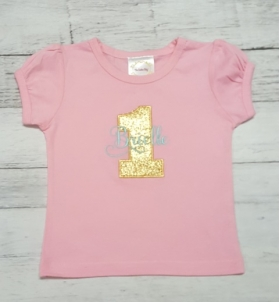 .1st Birthday Personalized Pink Aqua & Gold Ribbon Birthday Tutu 3 Piece Set