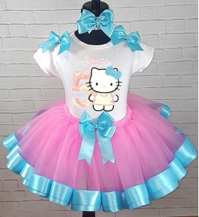HELLO KITTY Birthday Glitter Pink-Turquoise Ribbon Tutu Personalized 3 Pc. Set