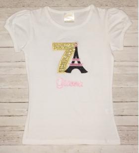Eiffel Tower Sparkle Personalized Birthday Shirt