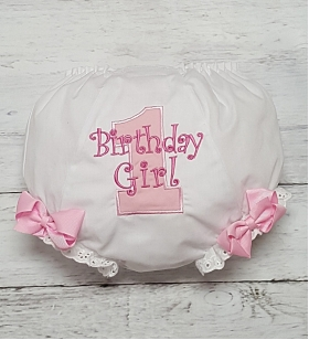 Pink & Hot Pink Birthday Girl Personalized Diaper Cover Bloomers