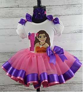 Moana Hot Pink & Purple Personalized Birthday Shirt & Ribbon Tutu 3 Piece Set