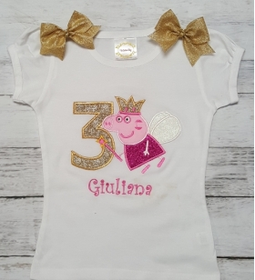Peppa Pig Personalized Birthday Name & Age Shirt-Onesie or Tank Top