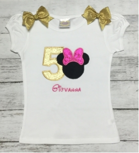 Minnie Mouse Glitter Personalized Birthday Shirt Onesie or Tank Top