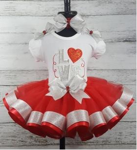 VValentine Red & Silver Glitter & Sparkle LOVE Ribbon Tutu 3 Piece Set