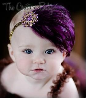 """Plum Feather & Purple""""Sugar Plum""""  Crystal Headband"""