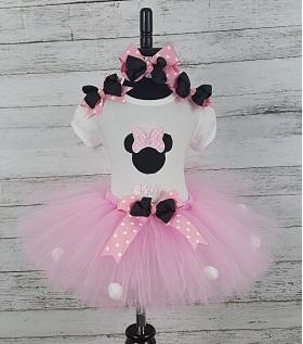 Minnie Pink & White Dot Personalized Shirt Headband & Tutu 3 Pc. Set