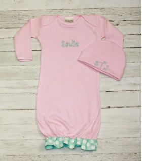 Layette Gown with Leopard letter L Applique, Ribbon on bottom, and bows on shoulders