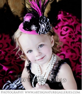 Zebra Hot Pink Mini Top Hat Photo Prop Headband