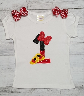 Minnie Mouse Glitter Shoes and Red Bow Personalized 1st Birthday Shirt, Onesie or Tank Top