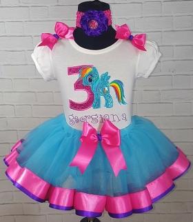 Rainbow Dash My Little Pony Birthday Turquoise Hot Pink and Purple Ribbon Tutu 3  Personalized 3 Piece Set
