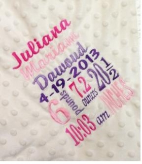 Birth Info Keepsake Custom Blanket