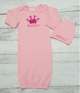 Princess Pink Layette Gown & Hat Set