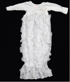 White Floral Sequins Layette Gown & Hat Set