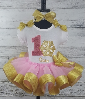 1st Birthday Winter Wonderland Onederland Snowflake Pink and Gold Personalized Ribbon Tutu 3 Piece Set
