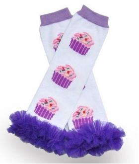 Cupcake Print Purple Chiffon Ruffle Leg Warmers