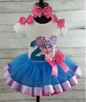 ABBY CADABBY Teal Hot Pink and Lavender Birthday Ribbon Tutu 3 pc Set