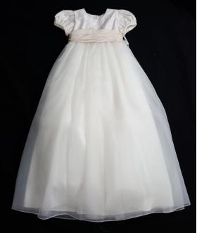 Christie Helene Custom Ivory & Blush Silk & Organza Pearl Beaded Christening Gown & Hat Set (6m)