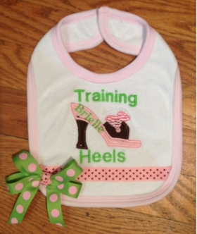 Customized Shoe Applique Bib with Name, Phrase, Bow and Ribbon