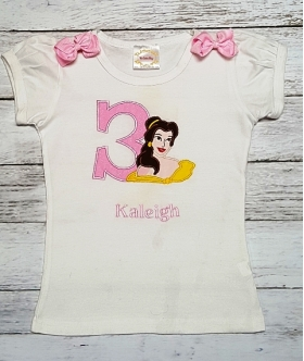 Belle Beauty Personalized Name and Age Shirt Or Onesie 1st 2nd 3rd 4th 5th 6th Birthday Top