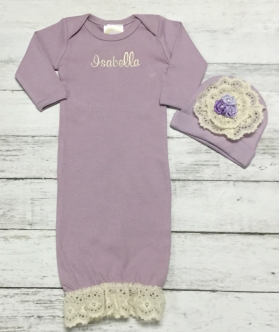 Vintage Ivory Lace & Lavender or Pink  Layette Personalized Gown & Hat Set