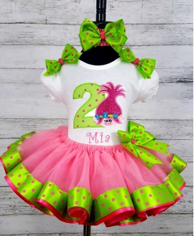 Birthday Troll Doll Pink and Lime Green Ribbon Tutu Personalized 3 Piece Set